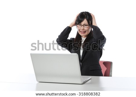 Women who work in the laptop , Businesswoman, anxiety,hand on head