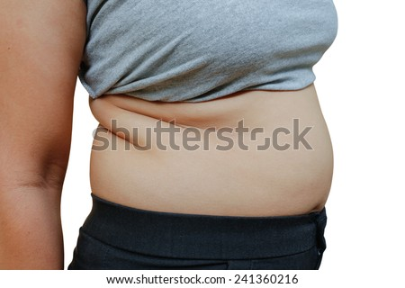 Women with fat belly and stretch marks.