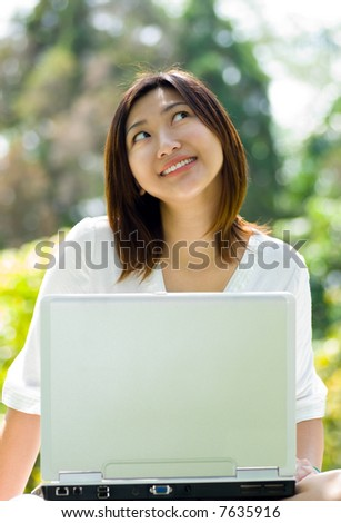 Women with laptop at the park