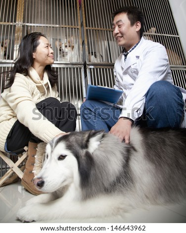 Women with pet dog talking to veterinarian - stock photo