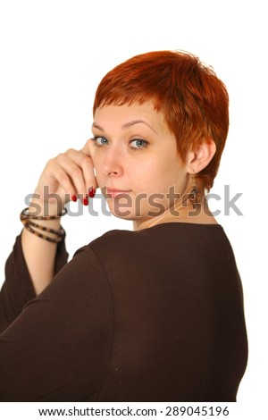women with red hair on white background - stock photo