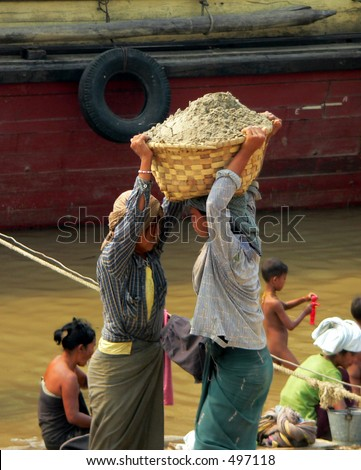 Women Working #5  Cement Carriers. Irrawaddy River Myanmar (Burma)