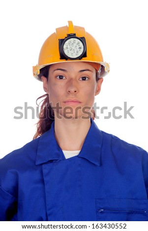 Women working in mining isolated on white background - stock photo