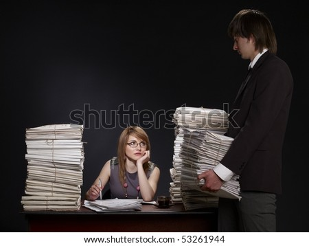women working man with more papers - stock photo