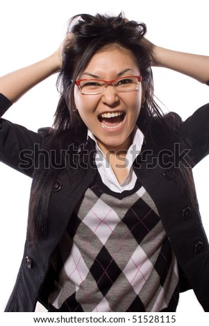 women, young, emotion, expression, face, female, frustrated, business - stock photo