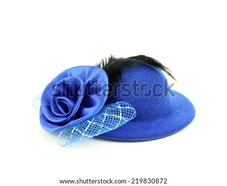 womens hat with a pink bow and black feathers - stock photo