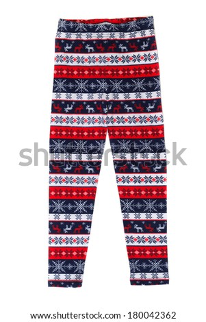 Womens pants (pajamas) with deer pattern. Isolate on white. - stock photo