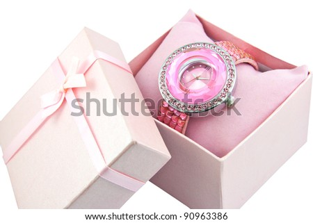 Womens Pink Watch In A Pink Bow Box