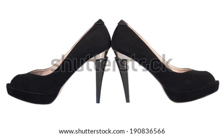 womens shoes high heel black isolated white background - stock photo