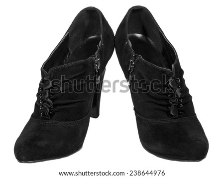 womens shoes high heel suede autumn folds black isolated white background - stock photo