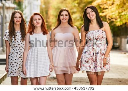 womens walking outdoor - stock photo
