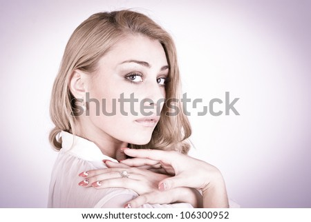 Wonder portrait of a beautiful romantic woman - stock photo