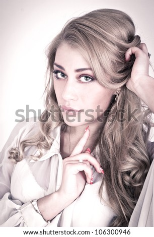 Wonder portrait of a pretty vintage woman - stock photo