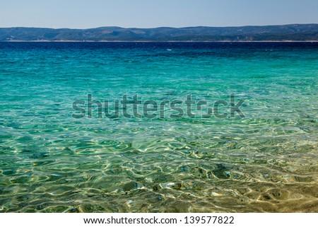 Wonderful Adriatic Sea with Deep Blue Water near Split, Croatia - stock photo