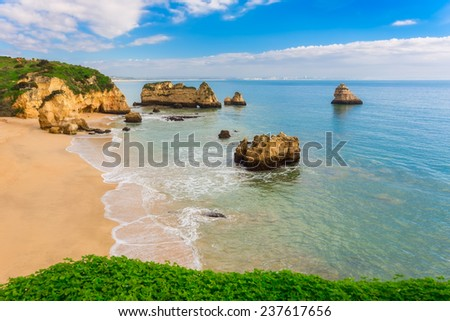 Wonderful beaches of Portugal. Lagos, Algarve. - stock photo
