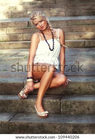 Wonderful blond women, fashion photo - stock photo