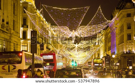 Wonderful Christmas decoration at Regent Street in London - LONDON / ENGLAND - DECEMBER 10, 2016