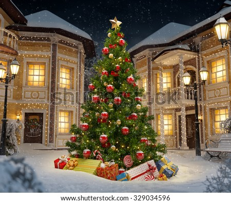 Wonderful christmas tree with gift boxes in cute city at night. Unusual christmas illustration - stock photo
