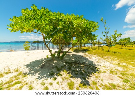 Wonderful colors in a bright sunny day on the remote Togean or Togian Islands, Central Sulawesi, Indonesia, upgrowing travel destination. Lush green foliage, white sandy beach and blue sea. - stock photo