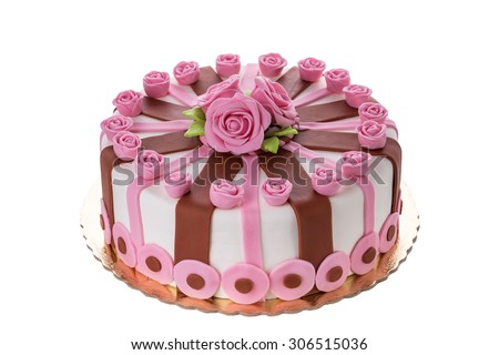 Wonderful decorative cake flowers roses. On the birthday of his beloved. - stock photo