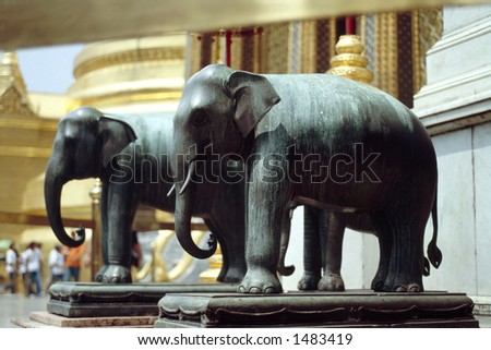 Wonderful elephant statues decorate the Grand Palace in Bangkok, Thailand - stock photo