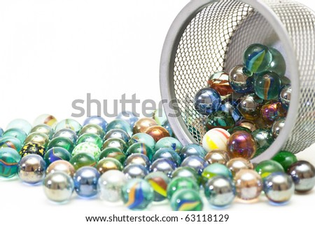Wonderful glass balls with reflection of a decorative grid - stock photo
