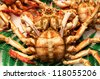 Wonderful great crabs, shrimps and lobster at the market La Boqueria in Barcelona. An indoor market for goods of all kinds - stock photo