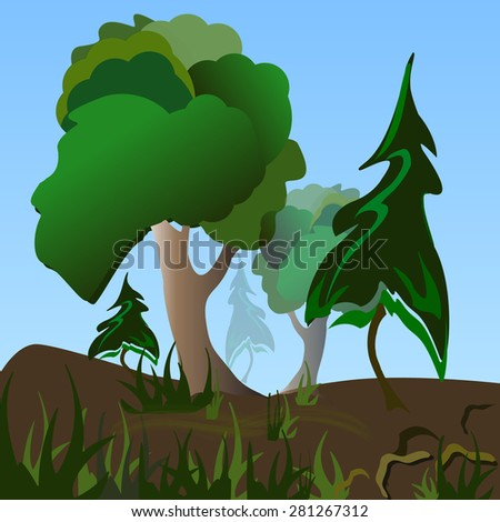 Wonderful hills with pines and oaks. The grass in the decorative merged.  illustration - stock photo