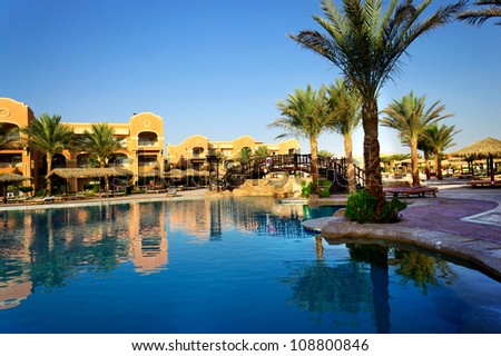 Wonderful  hotel swimming pool in the Egypt. - stock photo