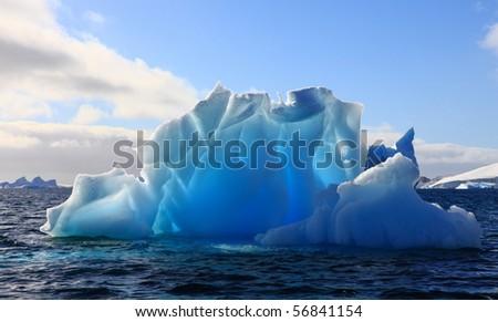 Wonderful iceberg nearly transparent in Antarctica - stock photo