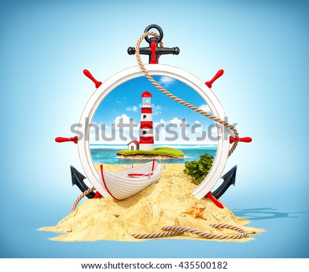 Wonderful  landscape with light house on the island in wooden helm. Unusual 3D illustration - stock photo
