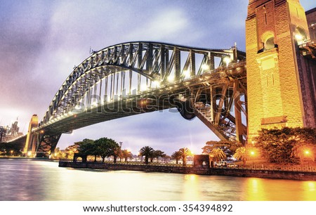 Wonderful night skyline of Sydney, Australia. - stock photo