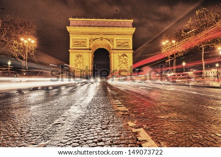 Wonderful night view of Champs Elysees - Paris. - stock photo