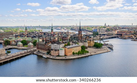 Wonderful panorama from height of bird's flight on observation deck on tower City Hall to Gamla Stan (Old Town), Stockholm, Sweden