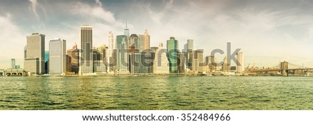 Wonderful panoramic view of New York skyscrapers on a sunny day.