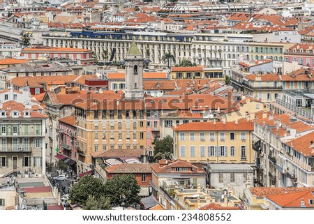 Wonderful panoramic view of Nice with colorful historical houses in Old City. Nice - luxury resort of Cote d'Azur, France. - stock photo