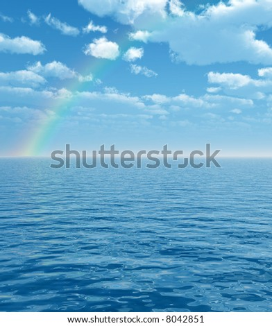 Wonderful rainbow over the sea