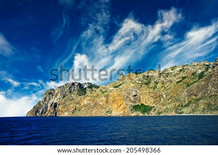 Wonderful rocks in  the Karadag. Koktebel, Crimea. - stock photo