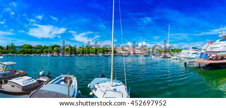 Wonderful romantic old town at Adriatic sea. Boats and yachts in harbor at magical summer. Krk. Krk island. Croatia. Europe. - stock photo