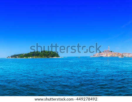Wonderful romantic old town at Adriatic sea. Boats and yachts in harbor at magical summer. Rovinj. Istria. Croatia. Europe. - stock photo