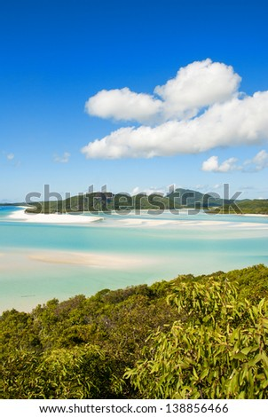Wonderful sea and forest of Queensland. Whitehaven Beach - Australia. - stock photo