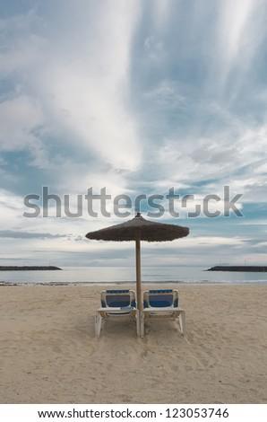 Wonderful sky at lanzarote beach. - stock photo