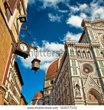 Wonderful sky colors in Piazza del Duomo - Firenze.  - stock photo