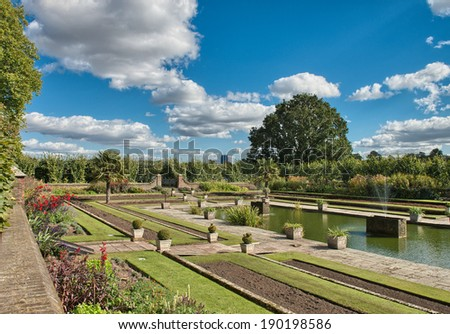 Wonderful sky over Hyde Park with beautiful vegetation - London. - stock photo