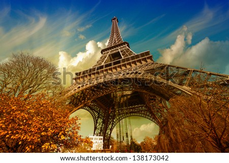 Wonderful street view of Eiffel Tower and Winter Vegetation - Paris. - stock photo
