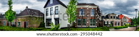 Wonderful street with houses in the Netherlands. Assen. - stock photo