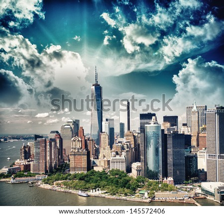 Wonderful summer sunset aerial view of lower Manhattan skyscrapers. - stock photo