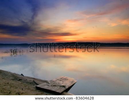 Wonderful sunrise over river in Russia - stock photo