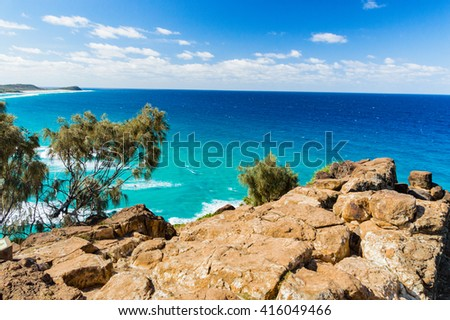Wonderful view from Cliffs on Fraser Island - stock photo