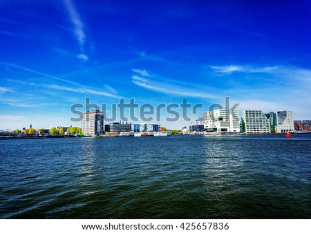 Wonderful view of modern architecture in Amsterdam. - stock photo